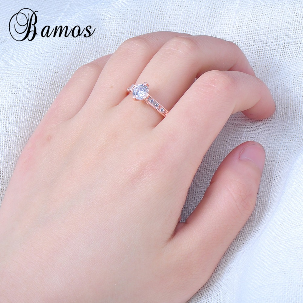 Simple Design White CZ Rings For Women Bridal Rose Gold Filled ...