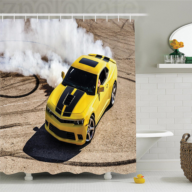 Manly Decor Shower CurtaIn Set Yellow Sports Car Drifting Photography Smoke Fast Speed Competition Picture Bathroom