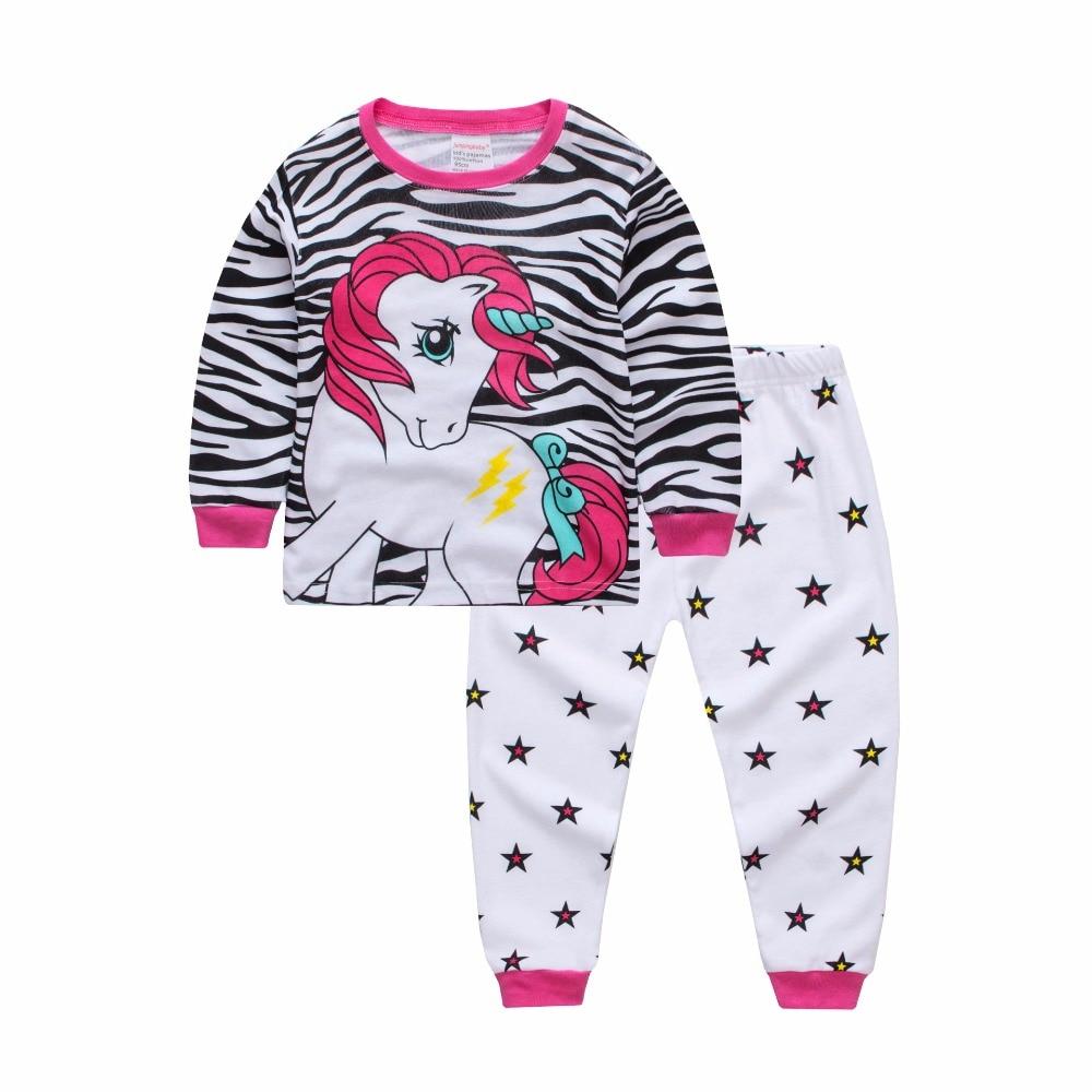 Kids Girl Clothes Set Children girls Leisure Wear Cotton Long Sleeve Cartoon Pajamas suit Baby Girls Little Horse Sleepwear petit lem little girls flamingo fiesta long sleeve pajamas