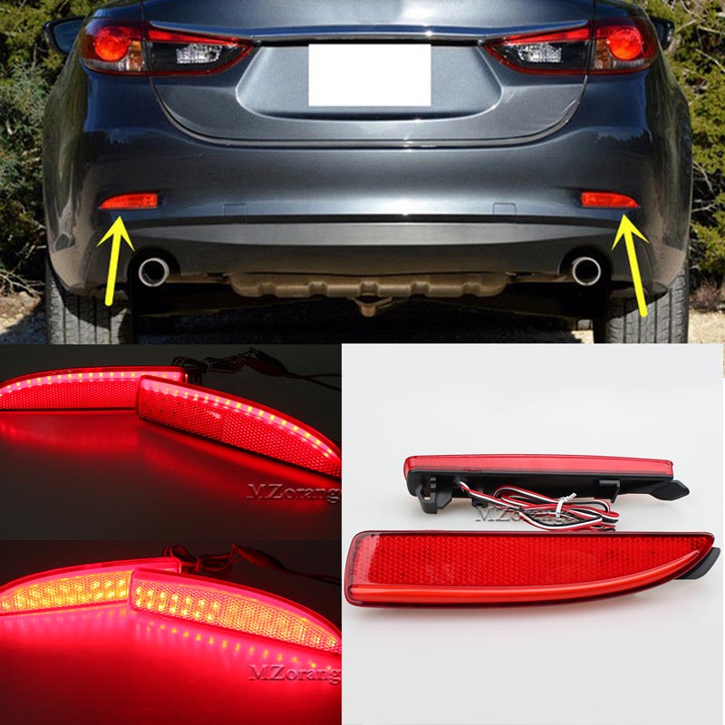 For <font><b>Mazda</b></font> <font><b>6</b></font> Atenza 2013 2014 2015 2016 Red Rear Bumper Reflector <font><b>Light</b></font> Car Styling <font><b>LED</b></font> <font><b>Light</b></font> <font><b>Tail</b></font> Brake Fog Lamp <font><b>Tail</b></font> Stop Lamp image