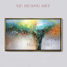 Sell lots of rich tree hand-painted oil painting abstract impression blue to decorate the hall hotel home office sofa