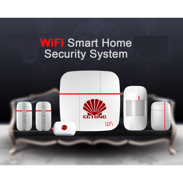 Multi Function WIFI Smart Home Alarm System With 4pcs Of Wireless Sensor U0026  Medical Emergency
