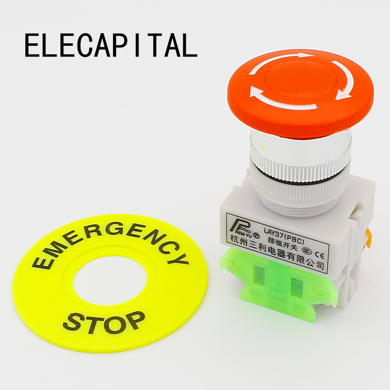 LHLL Red Mushroom Cap 1NO 1NC DPST Emergency Stop Push Button Switch AC 660V 10A