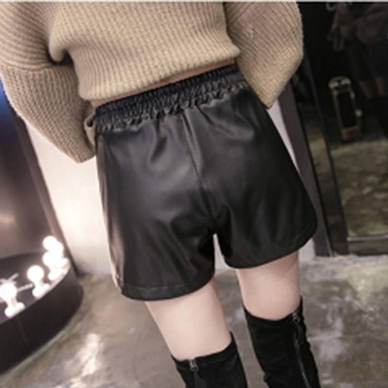 HTB12BRWdBCw3KVjSZFlq6AJkFXaD - S-3XL Female Korean Casual Large Size Out Wear Wide Leg Elastic Band Short Pants Autumn/Winter Wild  PU Leather Shorts