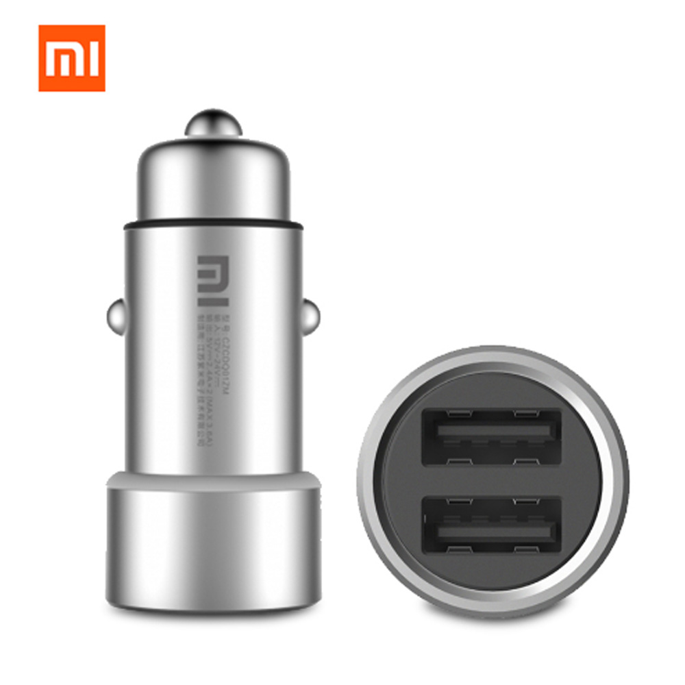 2018 Original Xiaomi Mi Car Charger Dual USB Max 5V/3.5A Metal Style Mobile Phone Travel Adapter Cigar Lighter Metal Car Charger xiaomi car charger