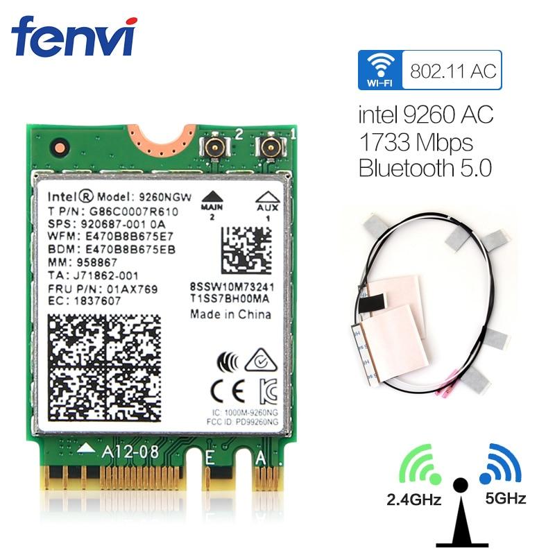 Double Bande Sans Fil-AC 9260 NGFF Intel 9260NGW 802.11ac MU-MIMO 5 Ghz 1730 Mbps 1.73 Gbps WiFi + Bluetooth 5.0 Carte Pour Windows 10