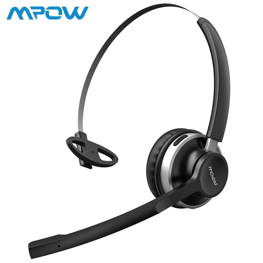 Casque Mpow HC3 Bluetooth V4.2 pour Center d'appels et casque de camionneur avec 13 heures de temps de jeu et technologie de réduction du bruit à double micro