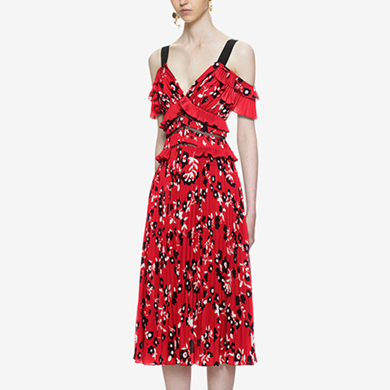 UNIQUEWHO Girls Women Bohemia Floral Pleated Dress Red Ruffles Sling Dress High Street Mid-Calf Party Dresses Spring Summer 2018