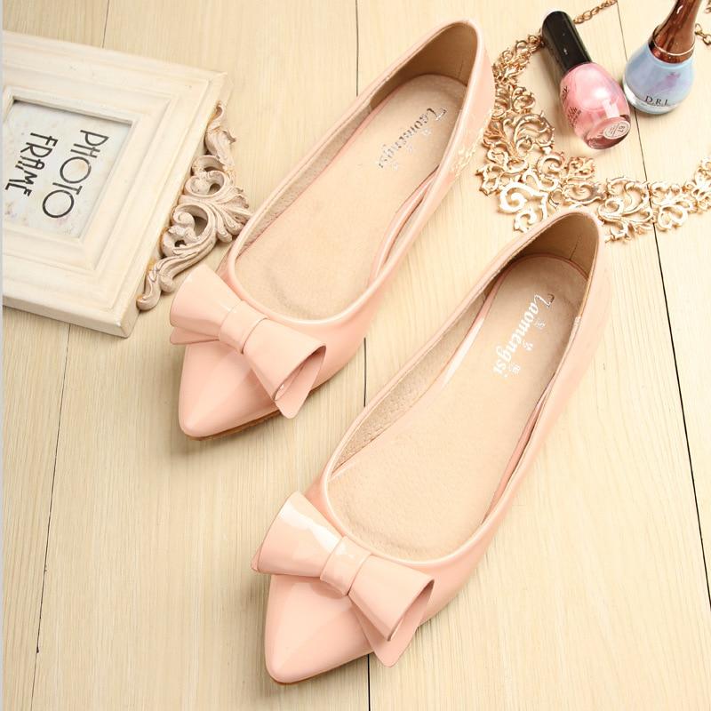 Casual Bouche Plat Couleur Slip En Femmes Avec Profonde on De Cuir Pointu Rose Bout Pink Chaussures Verni Sucrerie Peu Taomengsi Coréenne f7qUxzx