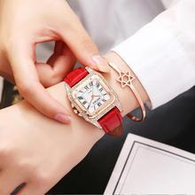 Women Square Watches 2019 relogio feminino Ladies Dress Crystal Quartz Wrist Watches Red Leather Strap Bracelet Rhinestone Watch недорого