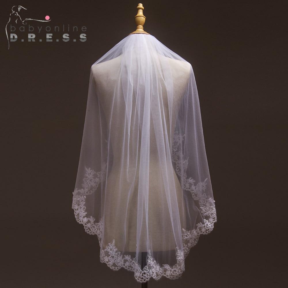 Wedding-Veil Short Voile Comb Tulle Mariage Lace-Edge Ivory White With Cheap Velos-De-Novia