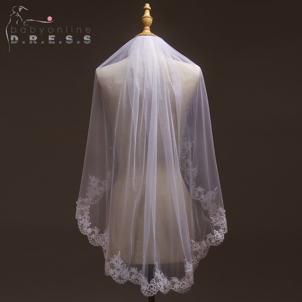Voile Mariage White Ivory Tulle Short Wedding Veil Lace Edge Bridal Veil With Comb Cheap Wedding Accessories Velos De Novia