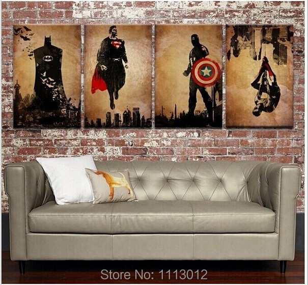 Ar rokām apgleznoti 4 paneļu mākslas abstrakti Marvel Comics Heroes Oil Painting Retro Movie Star Batman, Hulk, America's Captain America, Thor Plakāts