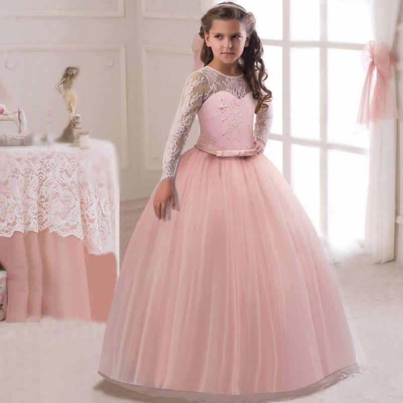 0aca0541b ... Vestido largo de encaje de niña de verano tul vestido de fiesta para  niña Elegante ropa ...
