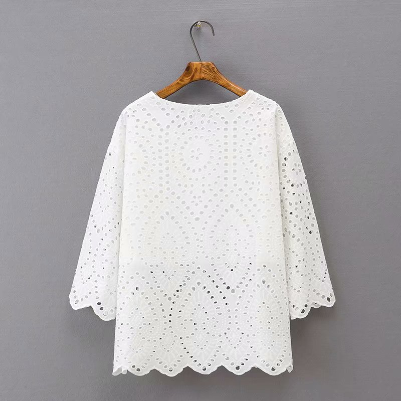 White Tops Three Quarter Sleeve T shirt Plus Size XXXL 4XL Casual O neck Women Hollow Out Tops Summer Style KKFY3623 in T Shirts from Women 39 s Clothing