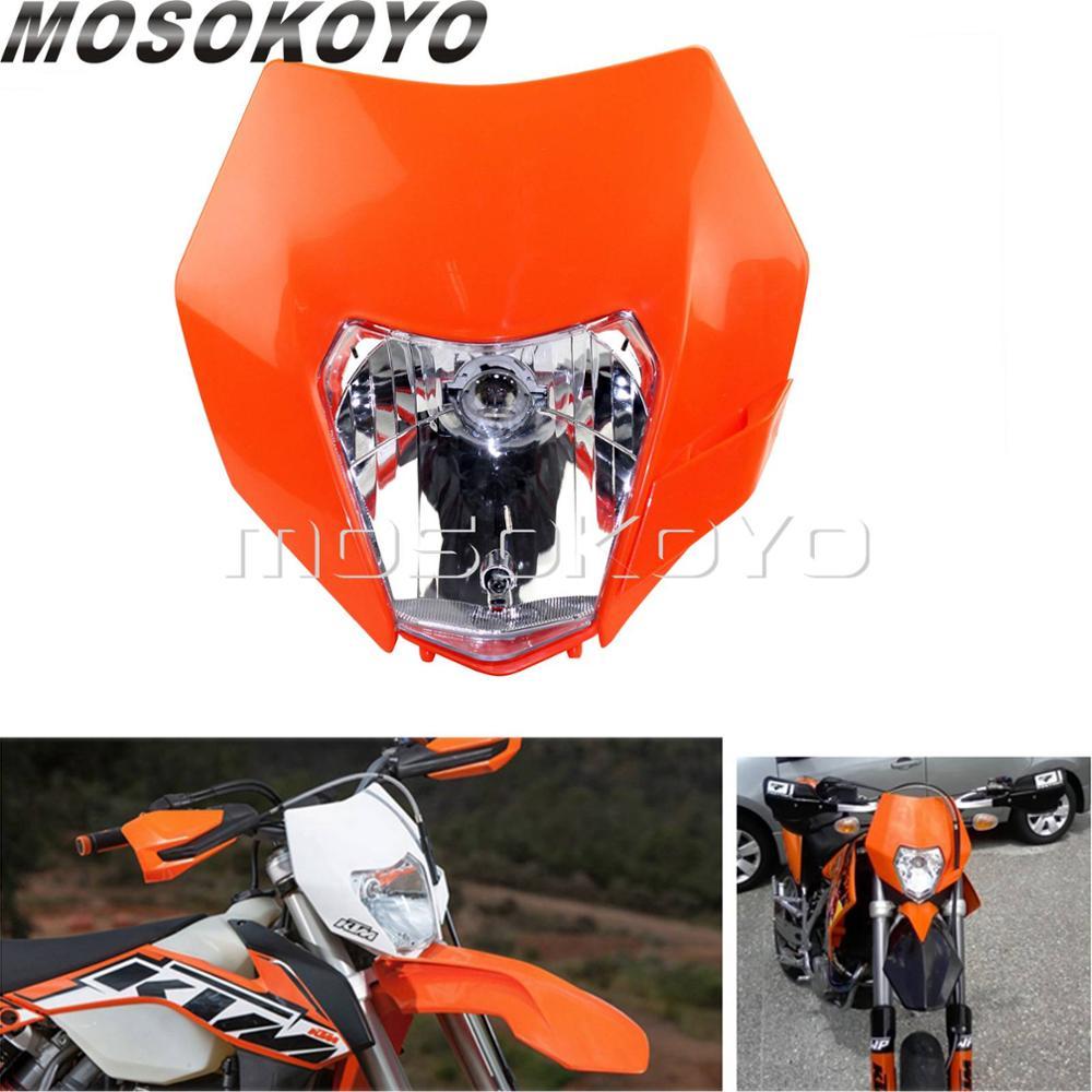 Orange Enduro Dual Sport Headlight 12V 35W Head Light For KTM SMR EXC SX Fairing Mask
