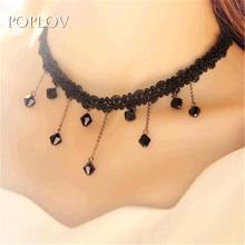 POPLOV Harajuku Black Rhinestone Sexy Lace Choker Necklace Women Brilliant quality Beads Pendant Charm Crystal Bib Chain Jewelry