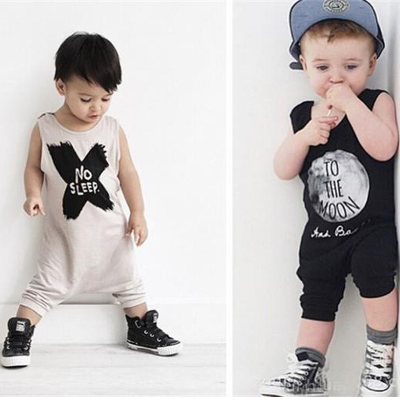 2019 Baby Boys Clothes Summer Sleeveless Letter Print Vest Jumpsuit Infant Baby Boy Casual Romper Jumpsuit Outfits Clothes