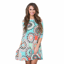 Купить с кэшбэком 2018 New Spring and Summer Dress Women Plus Size 2XL National Style Printing Large Pendulum Dress Casual Beach Dresses Vestidos