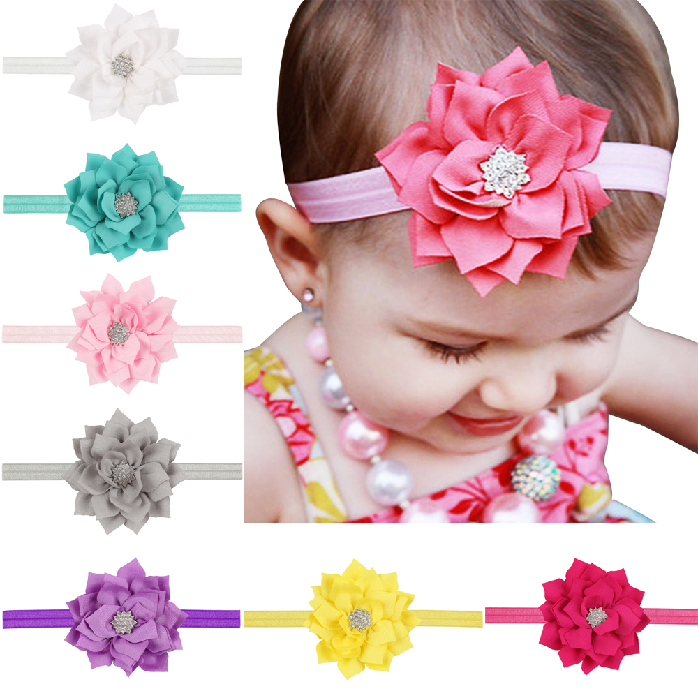 2016 new children lotus leaf paragraph diamond headband Elastic hair band infant children's hair accessories baby hair band