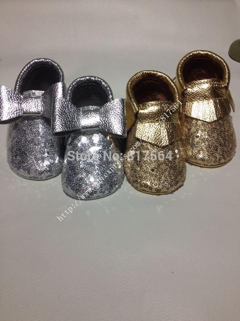 Metallic gold silver paillette cuero genuino bebé moccs fringe mocasín mocasines arco zapatos, paillette bebé moccs prewalker