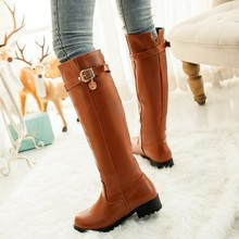 Winter New shoes Women Chunky Heel Knee Boots Fashion Ladies Belt Buckle Motorcycle boots Black Yellow