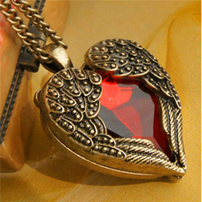 x306 Fashion Style Peach Heart Pendant Necklaces for Women Vintage Angel Wings Red Crystal Jewelry Female Long Sweater Accessory