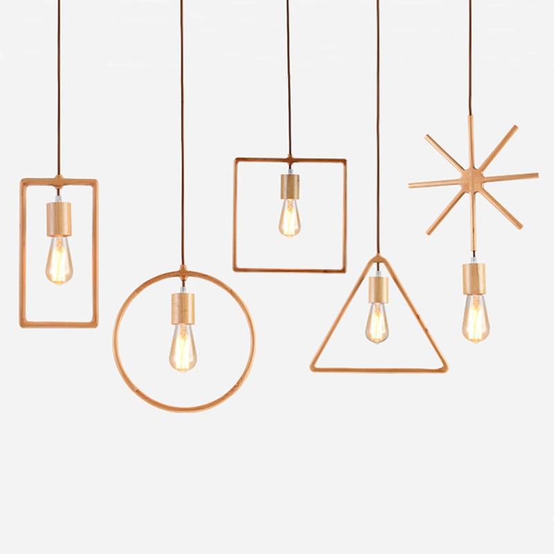Geometric Creative Solid Wood Small pendant light Pastoral Style Restaurant Living Room lamp Simple Japanese Wooden Lighting ступень exagres atlas cartabon fior irta entero 33x33