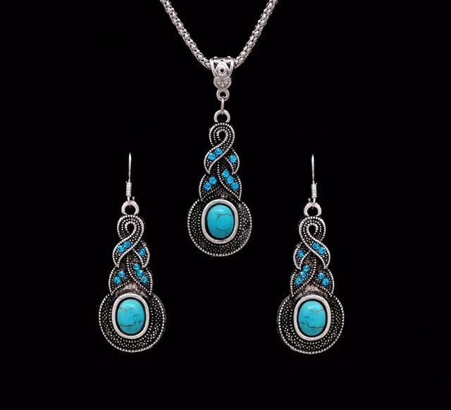Crazy Feng Fashion Jewelry Hot Sale Ethnic Blue Stone Jewelry Sets Tibetan Silver Necklace