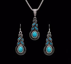 Fashion Jewelry Earrings Necklace Tibetan Blue-Stone Crazy-Feng Silver Hot-Sale Women