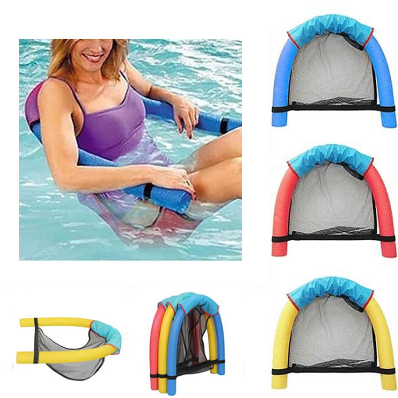 Swimming Floating Chair Pool Kid Adult Bed Seat Water Float Ring Lightweight Beach Ring Noodle Net Piscina Ring Pool Accessories