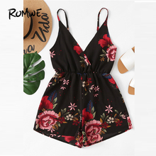 ROMWE V Neckline Floral Wrap Cami Romper 2019 Chic Summer High Waist Womens Culottes Sleeveless Straight