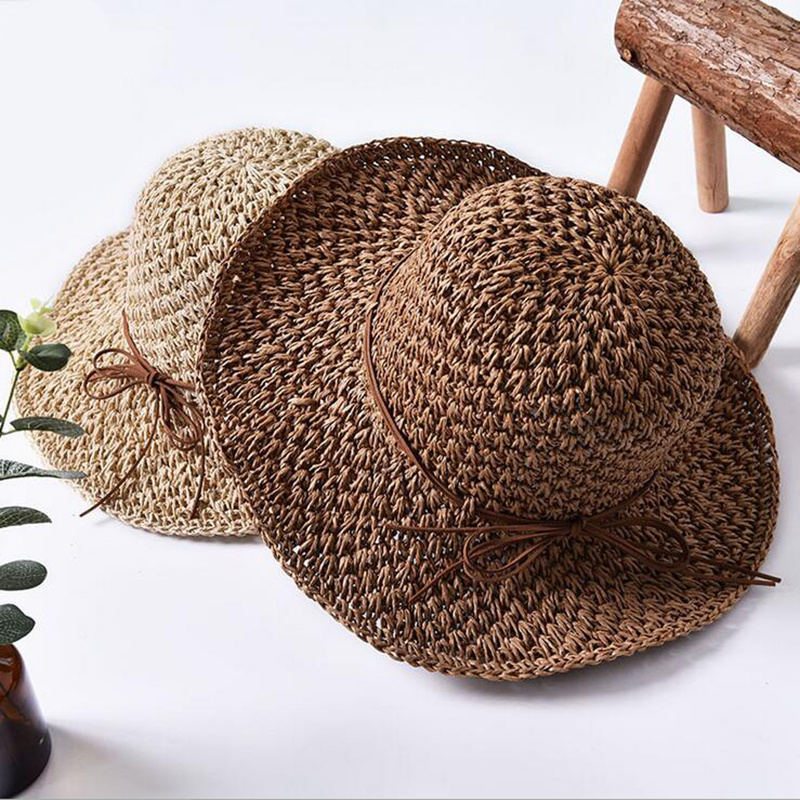 2018 Queen Hat Summer Women's Foldable Large Brim Beach Sun Hat Straw Beach Cap For Ladies Elegant Vacation Travel Hats