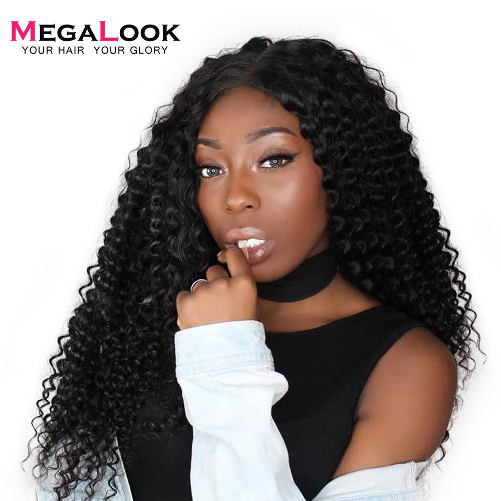 Megalook Hair Brazilian Deep Wave Human Hair Wigs 360 Lace Frontal Wig With Baby Hair Pre-Plucked Remy Wig 180% Density