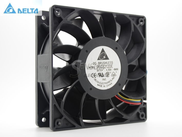 Delta PFC1212DE 120*120*38 mm 12038 1238 12CM DC 12V 4.80A server inverter cooling fan original delta afb1212hhe r00 dc12v 0 70a 3wires 120 120 38mm 12cm alarm signal cooling fan
