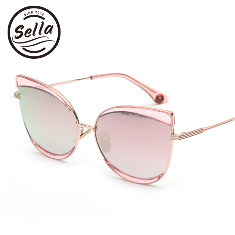 2018 New Arrival European Style Oversized Cateye Fashion Women Sunglasses Gradient Candy Color Film Coating Sun Glasses UV400