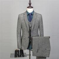 NA43 дизайнеров 3 шт. Клетчатый костюм Для мужчин Slim Fit Досуг Бизнес свадебное платье Костюмы для Для мужчин masculino смокинг костюм Homme
