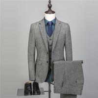 NA43 Designers 3 Pcs Plaid Suit Men Slim Fit Leisure Business Wedding Dress Suits for Men Terno Masculino Tuxedo Costume Homme