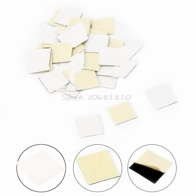 50Pcs 14*14mm Sticker Thermal Double Side Adhesive Tape Heatsink For CPU Screen -R179 Drop Shipping 20pcs lot aluminum heatsink 14 14 6mm electronic chip radiator cooler w thermal double sided adhesive tape for ic 3d printer