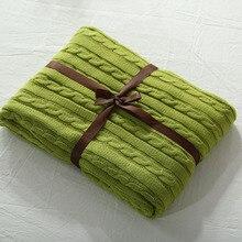 100% de Punto de Algodón Manta Sólida Adulto Manta A Cuadros Manta de Tiro en la Cama 110×180 cm 180×200 cm Primavera/Otoño Sofá Manta
