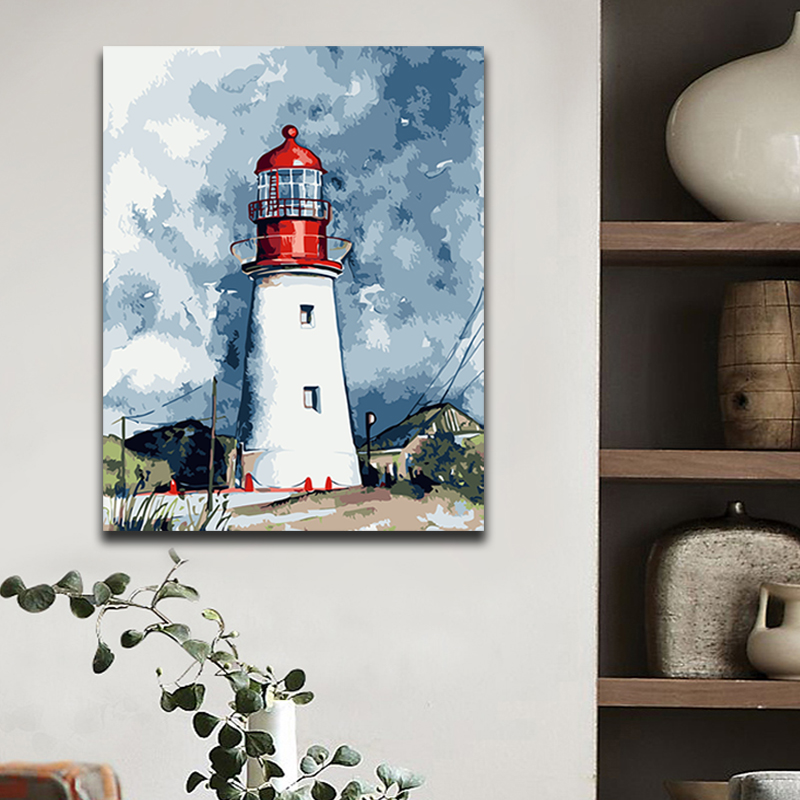 Lighthouse Defend Picture Painting By Numbers Seascape Landscape building with kits package On Canvas coloring paint by numbers