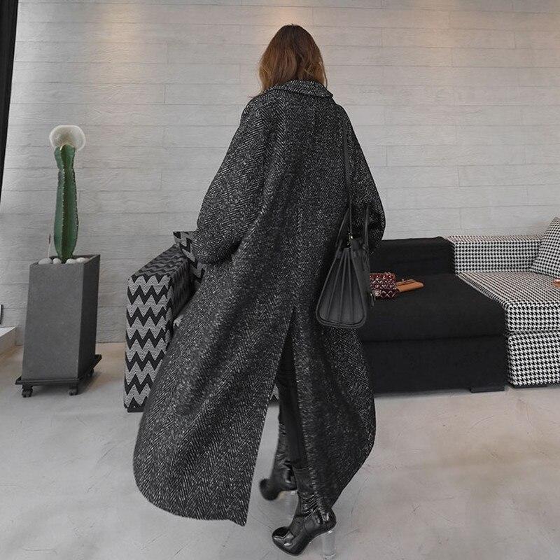 Image 3 - LANMREM 2018 Antumn Winter Herringbone Casual Open Stitch Pockets  Wide waisred Mid calaf Loose Coat Woman Overcoat EF443Wool