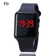 FD светодиодный Экран Дисплей спортивные наручные часы 2018 Горячие Повседневное каучуковый ремешок Водонепроницаемый Для женщин цифровые часы модные студенческие Любители часы
