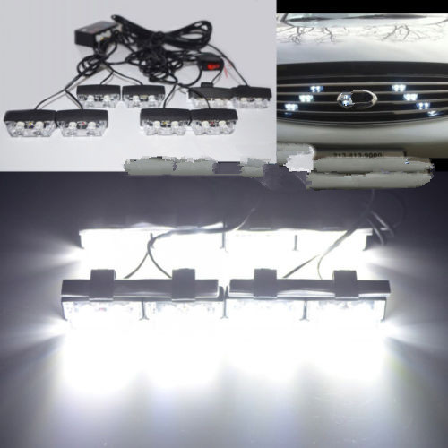 12V 16 LED Emergency Vehicle Strobe Flasher Deck Dash Grille Light bars  White(China (