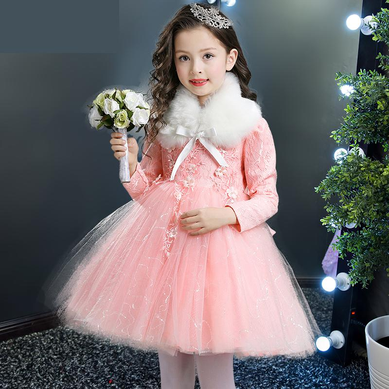 Plus Velvet Thick Warm New Winter Girls Dress 2017 Long Sleeves Kids Dresses For Girls Children Clothing Cute Princess Dress 14 2016 winter new soft bottom solid color baby shoes for little boys and girls plus velvet warm baby toddler shoes free shipping