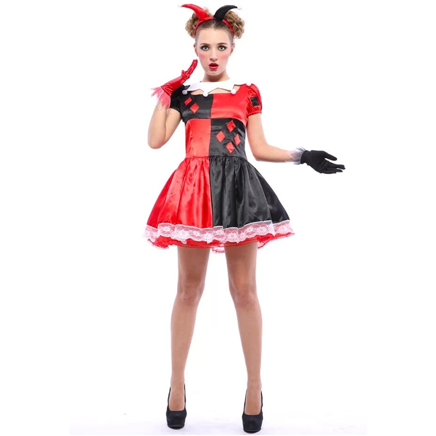 halloween costumes cute female circus clown suits masquerade festival performance cosplay costume glovesdress - Halloween Costumes That Are Cute