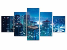 Wholesale 5Pcs Hot Sell view of the city Wall Art Picture Modern Home Decoration Living Room  Canvas Print Painting/XC-city-140