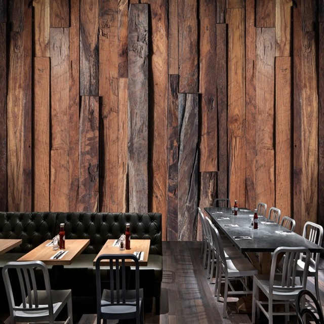 Photo Wallpaper Retro Nostalgic Wooden Mural HD Restaurant Background Wall Bar Studio Custom