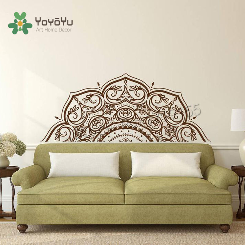 Boho Vinyl Wall Decal Half Mandala Wall Decals Flower Home Decoration Ideas For Bohemian Mural Headboard Wall Stickers Yogazw496 Wall Stickers Aliexpress,Nordic Style Living Room Design