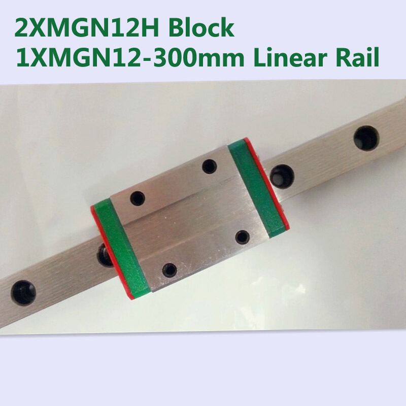 MR12 12mm linear rail guide MGN12 Length 300mm with 2pcs  MGN12H linear block carriage miniature linear motion guide way for cnc axk mr12 miniature linear guide mgn12 long 400mm with a mgn12h length block for cnc parts free shipping
